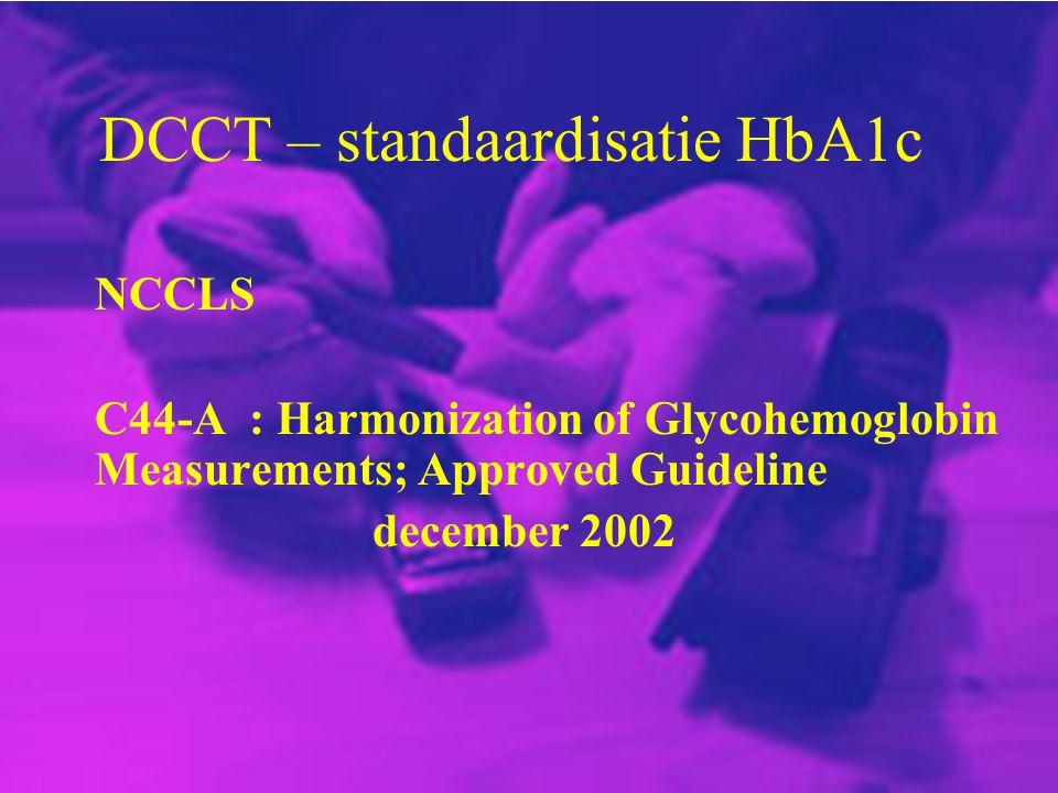 DCCT – standaardisatie HbA1c NCCLS C44-A : Harmonization of Glycohemoglobin Measurements; Approved Guideline december 2002