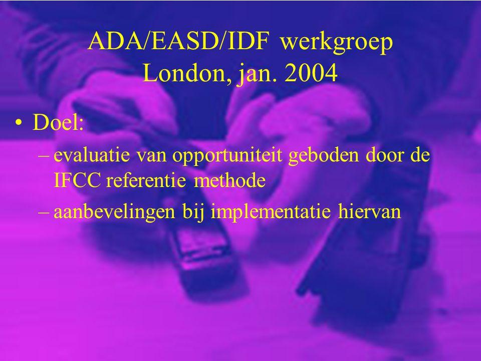 ADA/EASD/IDF werkgroep London, jan. 2004 Doel: –evaluatie van opportuniteit geboden door de IFCC referentie methode –aanbevelingen bij implementatie h