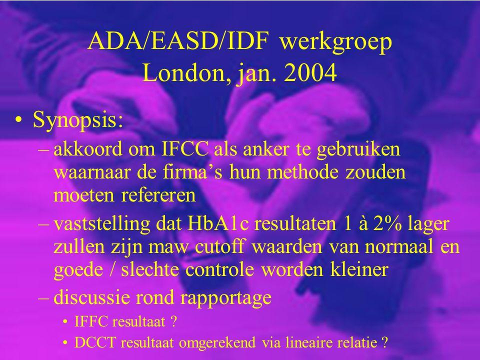 ADA/EASD/IDF werkgroep London, jan. 2004 Synopsis: –akkoord om IFCC als anker te gebruiken waarnaar de firma's hun methode zouden moeten refereren –va