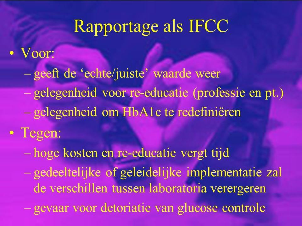 Rapportage als IFCC Voor: –geeft de 'echte/juiste' waarde weer –gelegenheid voor re-educatie (professie en pt.) –gelegenheid om HbA1c te redefiniëren