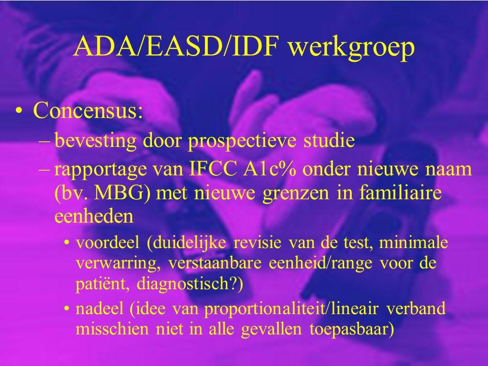 ADA/EASD/IDF werkgroep Concensus: –bevesting door prospectieve studie –rapportage van IFCC A1c% onder nieuwe naam (bv. MBG) met nieuwe grenzen in fami