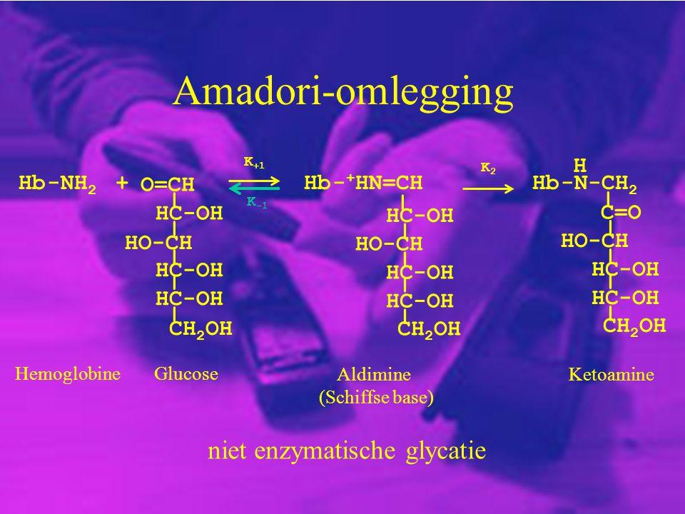 Amadori-omlegging Hb-NH 2 + HO-CH CH 2 OH O=CH HC-OH _ _ _ _ _ K +1 K -1 GlucoseHemoglobine Hb- + HN=CH HC-OH HO-CH HC-OH _ _ _ _ _ CH 2 OH Aldimine (