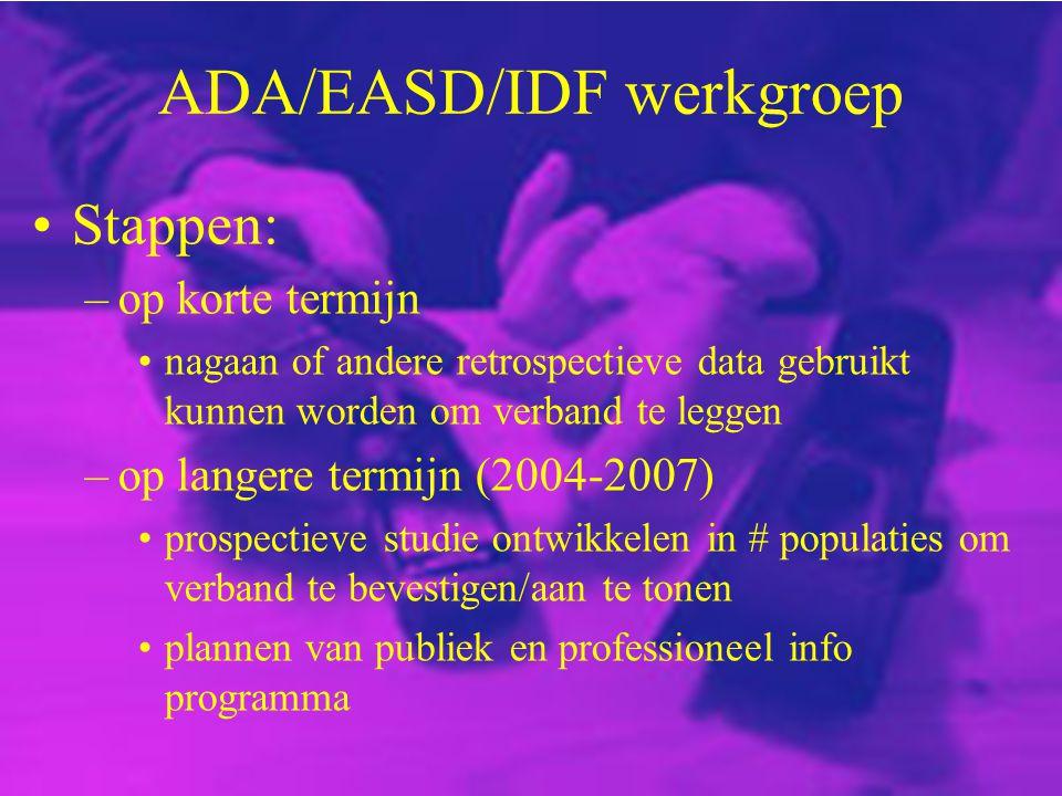 ADA/EASD/IDF werkgroep Stappen: –op korte termijn nagaan of andere retrospectieve data gebruikt kunnen worden om verband te leggen –op langere termijn