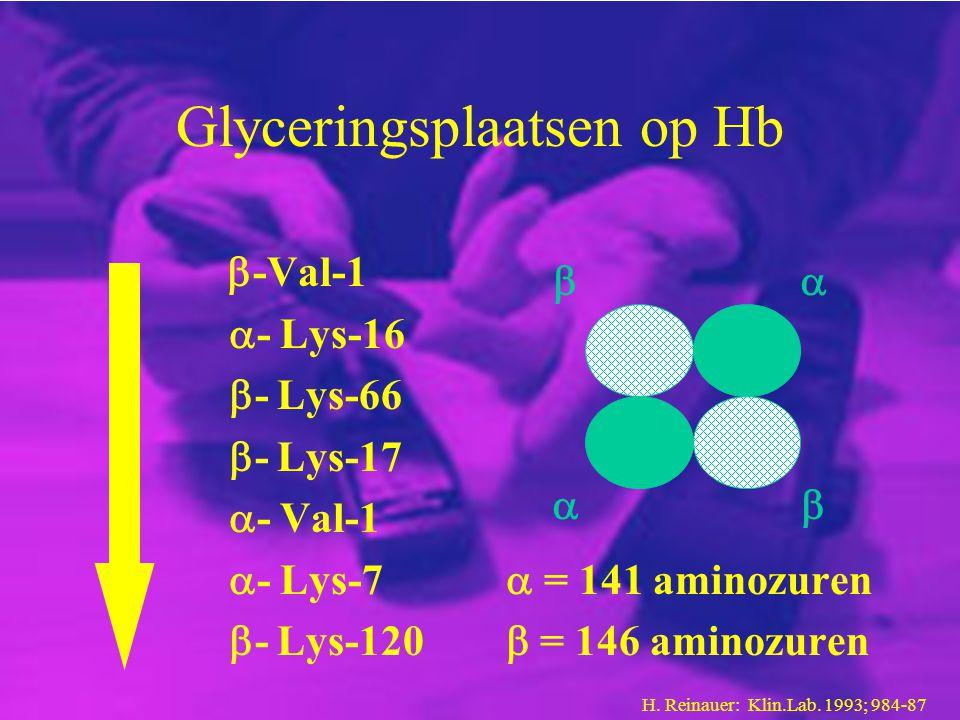 Glyceringsplaatsen op Hb  -Val-1  - Lys-16  - Lys-66  - Lys-17  - Val-1  - Lys-7  = 141 aminozuren  - Lys-120  = 146 aminozuren     H. Re
