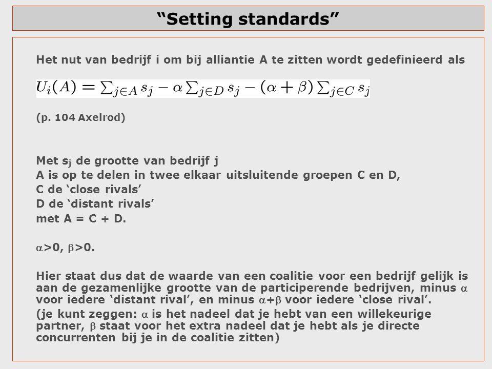 """""""Setting standards"""" Het nut van bedrijf i om bij alliantie A te zitten wordt gedefinieerd als (p. 104 Axelrod) Met s j de grootte van bedrijf j A is o"""