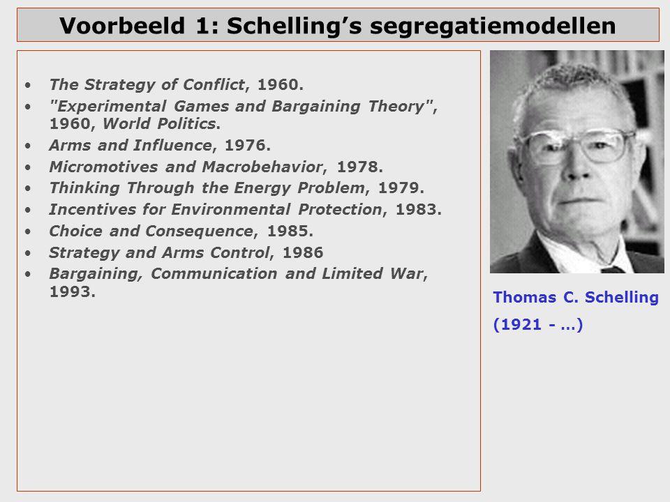 Schelling Nobelprijswinnaar in 2005 (met Aumann) http://nobelprize.org /economics/laureate s/2005/index.html Nobelprijs m.n.