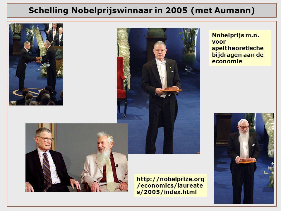 Schelling Nobelprijswinnaar in 2005 (met Aumann) http://nobelprize.org /economics/laureate s/2005/index.html Nobelprijs m.n. voor speltheoretische bij