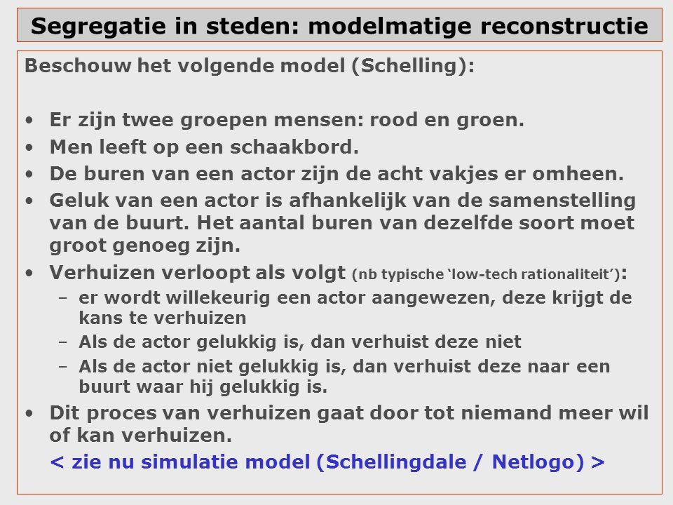 Segregatie in steden: modelmatige reconstructie Beschouw het volgende model (Schelling): Er zijn twee groepen mensen: rood en groen. Men leeft op een