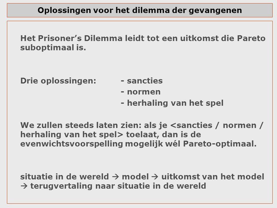 Oplossingen voor het dilemma der gevangenen Het Prisoner's Dilemma leidt tot een uitkomst die Pareto suboptimaal is. Drie oplossingen:- sancties - nor