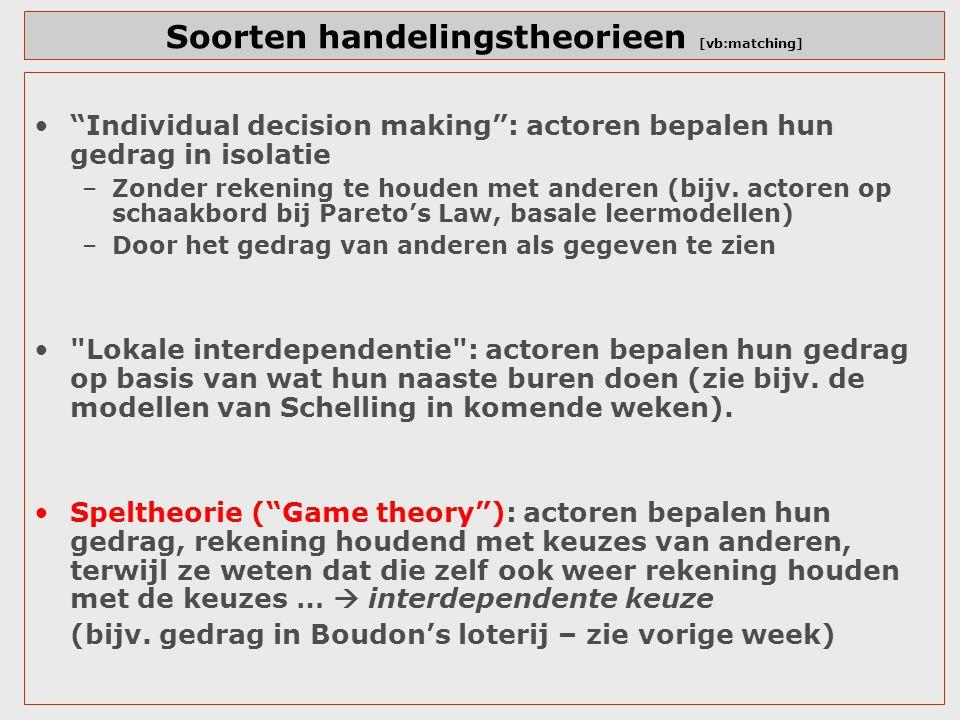 """Soorten handelingstheorieen [vb:matching] """"Individual decision making"""": actoren bepalen hun gedrag in isolatie –Zonder rekening te houden met anderen"""