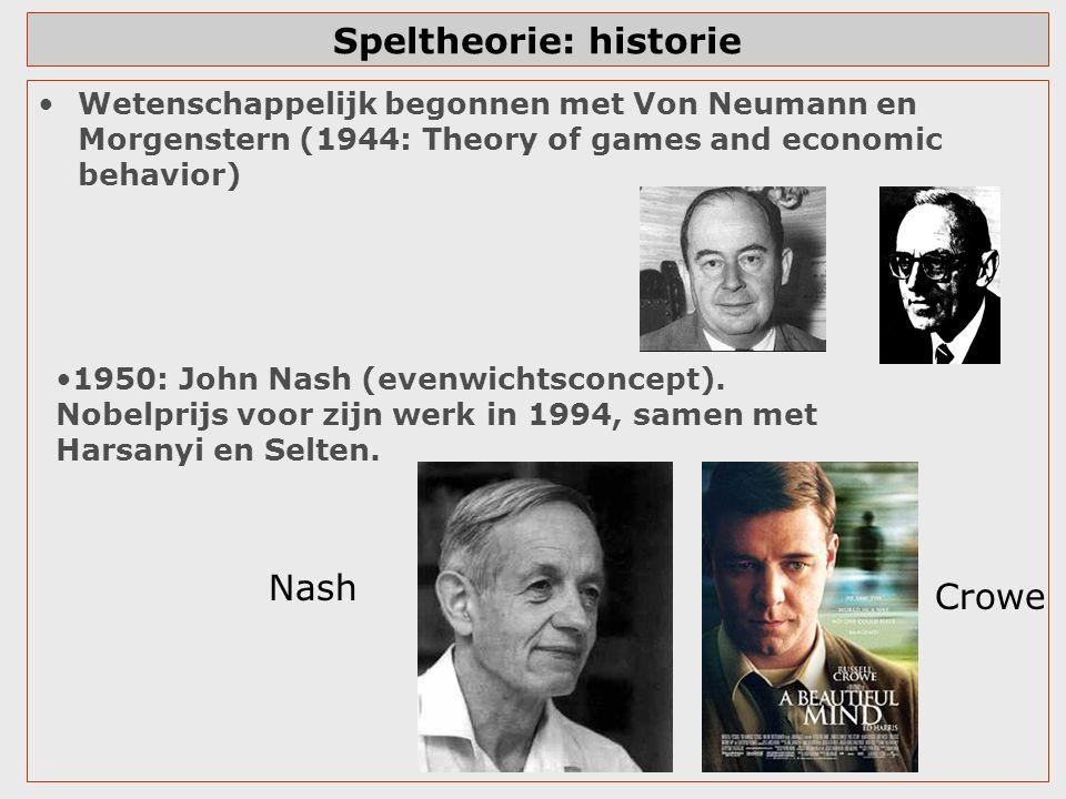 Het Nash existence theorem (Nash, 1950) Stelling: Als ieder van de n spelers in een spel een eindig aantal (zuivere) strategieën heeft, dan heeft het spel minimaal één Nash evenwicht, dat eventueel ligt in gemengde strategieën.