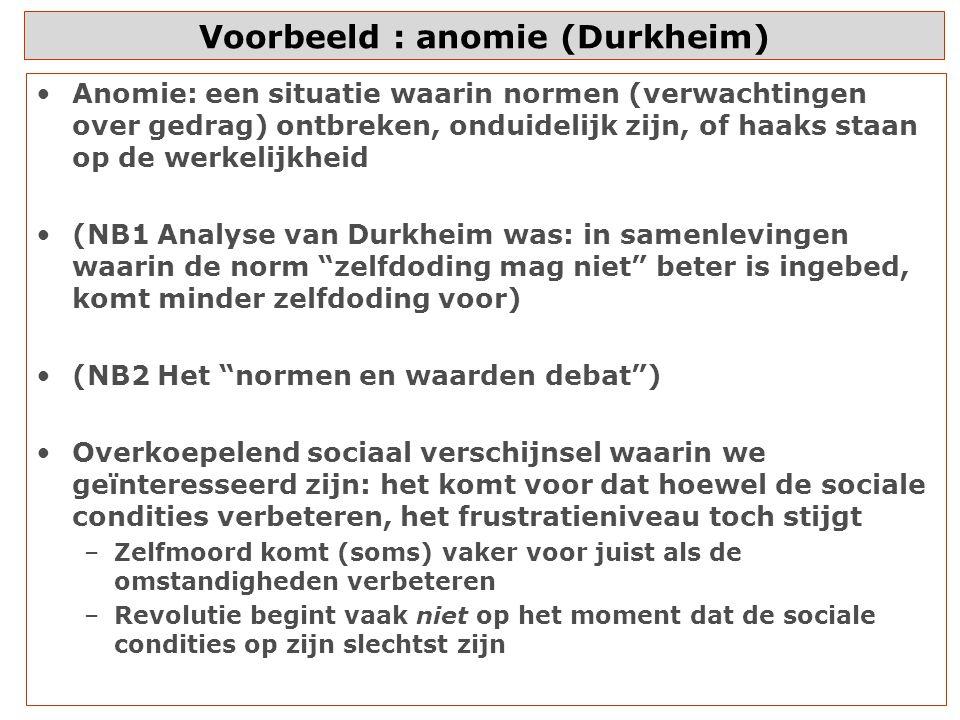 Voorbeeld : anomie (Durkheim) Anomie: een situatie waarin normen (verwachtingen over gedrag) ontbreken, onduidelijk zijn, of haaks staan op de werkelijkheid (NB1 Analyse van Durkheim was: in samenlevingen waarin de norm zelfdoding mag niet beter is ingebed, komt minder zelfdoding voor) (NB2 Het normen en waarden debat ) Overkoepelend sociaal verschijnsel waarin we geïnteresseerd zijn: het komt voor dat hoewel de sociale condities verbeteren, het frustratieniveau toch stijgt –Zelfmoord komt (soms) vaker voor juist als de omstandigheden verbeteren –Revolutie begint vaak niet op het moment dat de sociale condities op zijn slechtst zijn