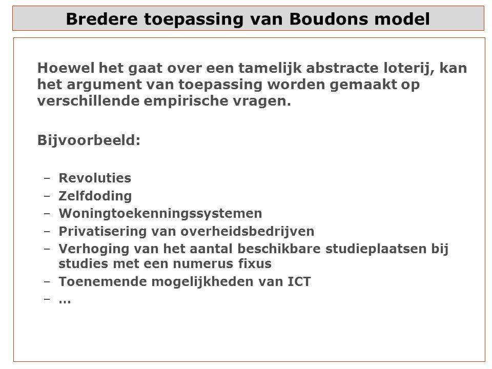 Bredere toepassing van Boudons model Hoewel het gaat over een tamelijk abstracte loterij, kan het argument van toepassing worden gemaakt op verschillende empirische vragen.