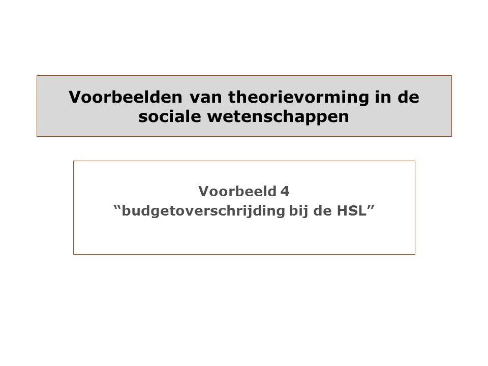 Voorbeelden van theorievorming in de sociale wetenschappen Voorbeeld 4 budgetoverschrijding bij de HSL