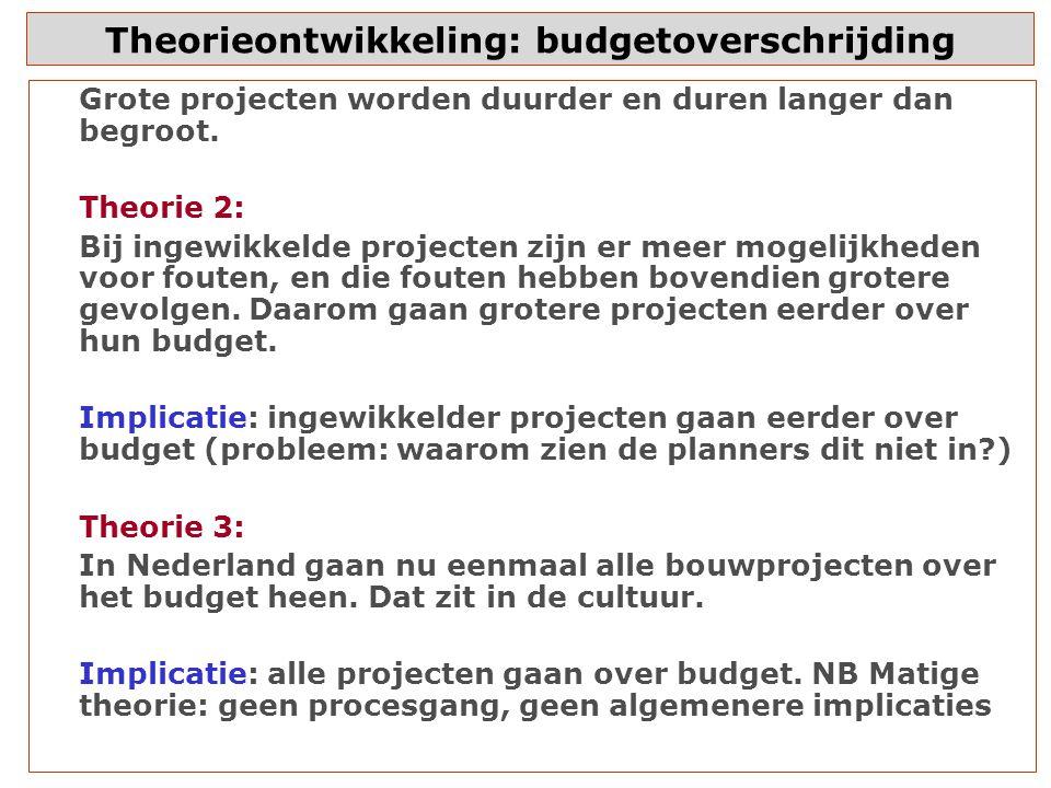 Theorieontwikkeling: budgetoverschrijding Grote projecten worden duurder en duren langer dan begroot.