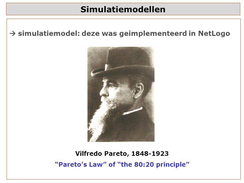 Simulatiemodellen  simulatiemodel: deze was geimplementeerd in NetLogo Vilfredo Pareto, 1848-1923 Pareto's Law of the 80:20 principle
