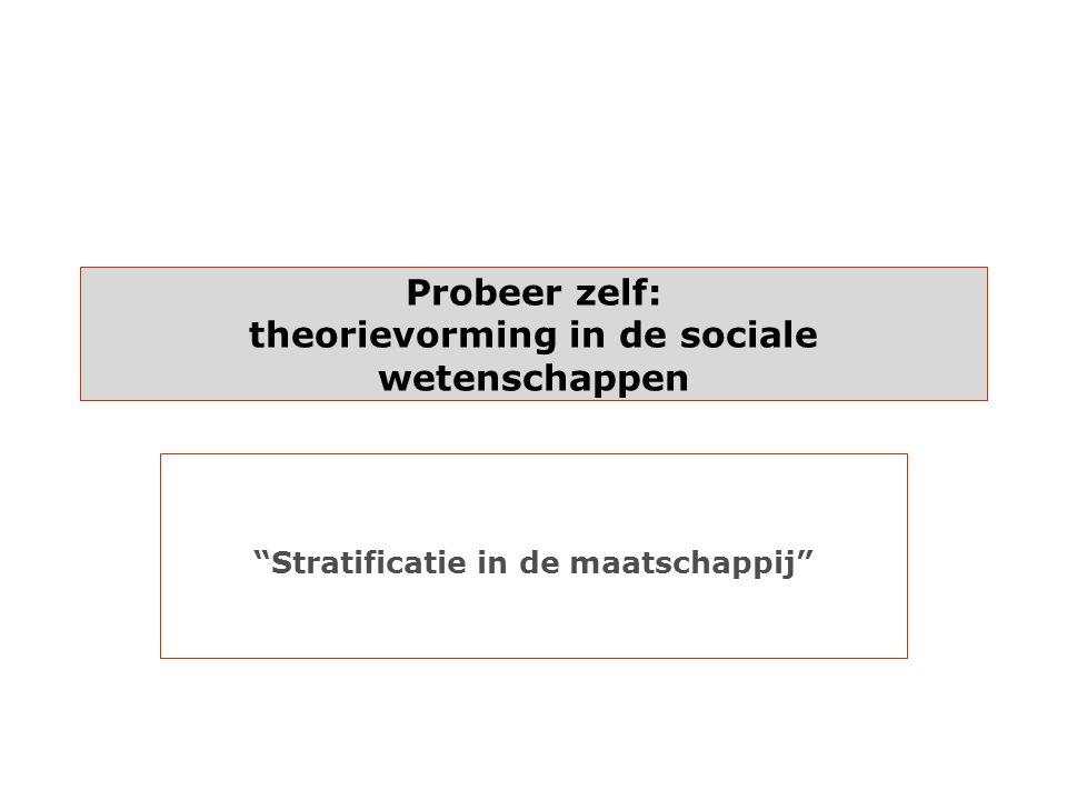 Probeer zelf: theorievorming in de sociale wetenschappen Stratificatie in de maatschappij