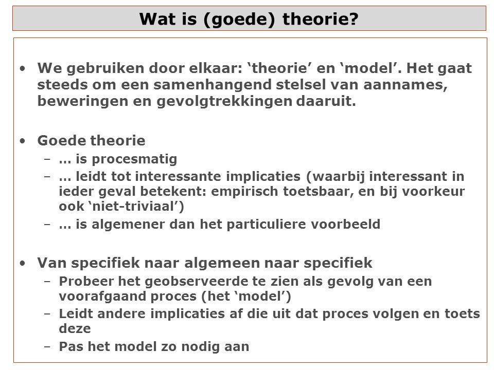 Wat is (goede) theorie.We gebruiken door elkaar: 'theorie' en 'model'.