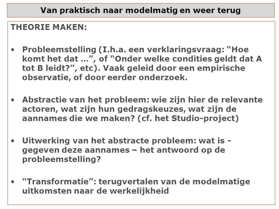 Van praktisch naar modelmatig en weer terug THEORIE MAKEN: Probleemstelling (I.h.a.