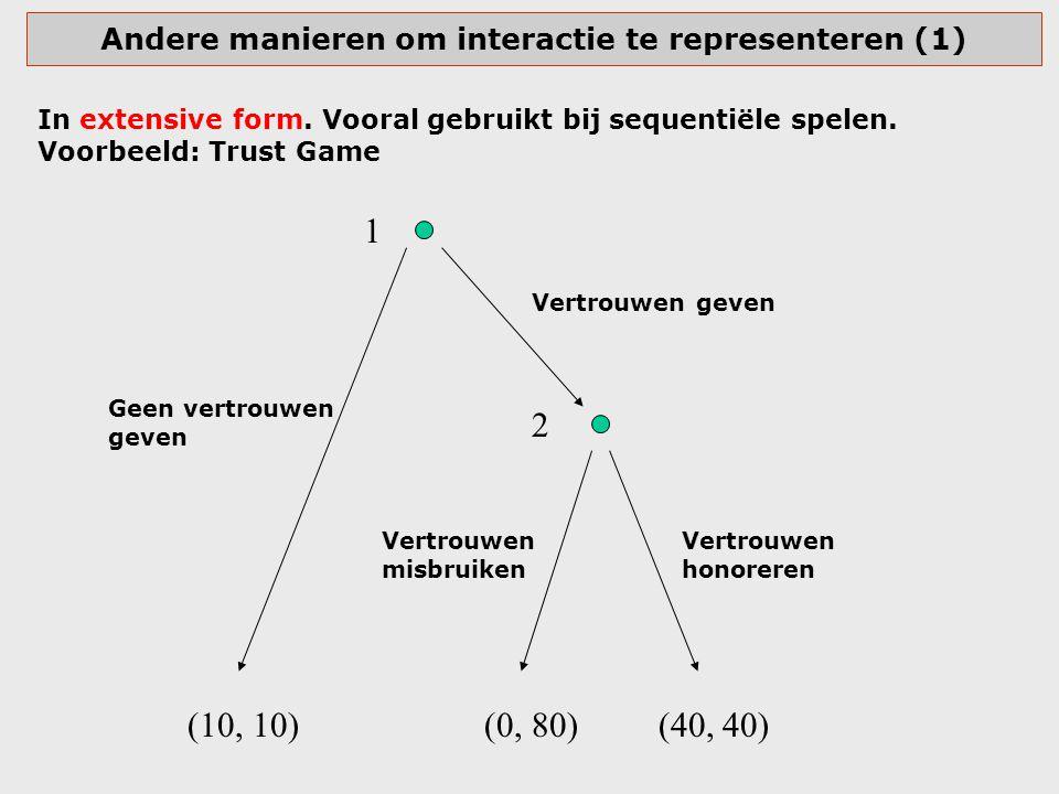 Andere manieren om interactie te representeren (1) In extensive form. Vooral gebruikt bij sequentiële spelen. Voorbeeld: Trust Game Vertrouwen geven G