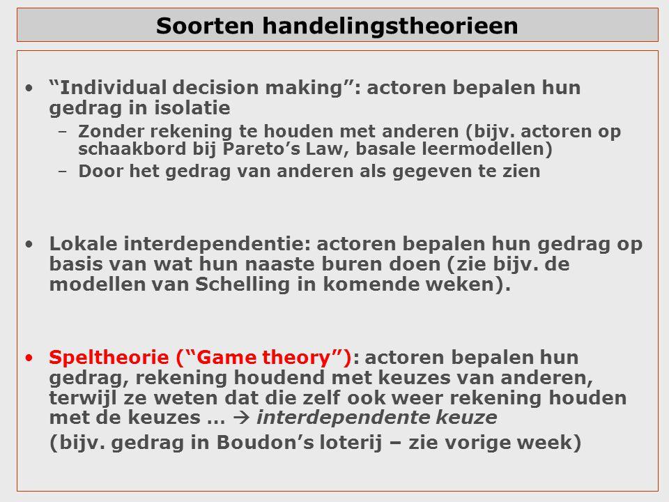 """Soorten handelingstheorieen """"Individual decision making"""": actoren bepalen hun gedrag in isolatie –Zonder rekening te houden met anderen (bijv. actoren"""