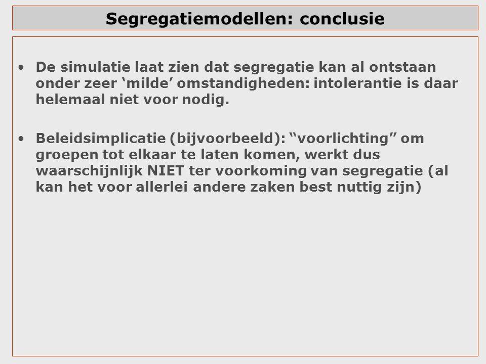 Segregatiemodellen: conclusie De simulatie laat zien dat segregatie kan al ontstaan onder zeer 'milde' omstandigheden: intolerantie is daar helemaal n
