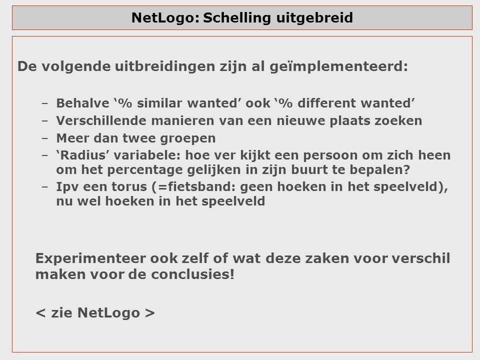 NetLogo: Schelling uitgebreid De volgende uitbreidingen zijn al geïmplementeerd: –Behalve '% similar wanted' ook '% different wanted' –Verschillende m
