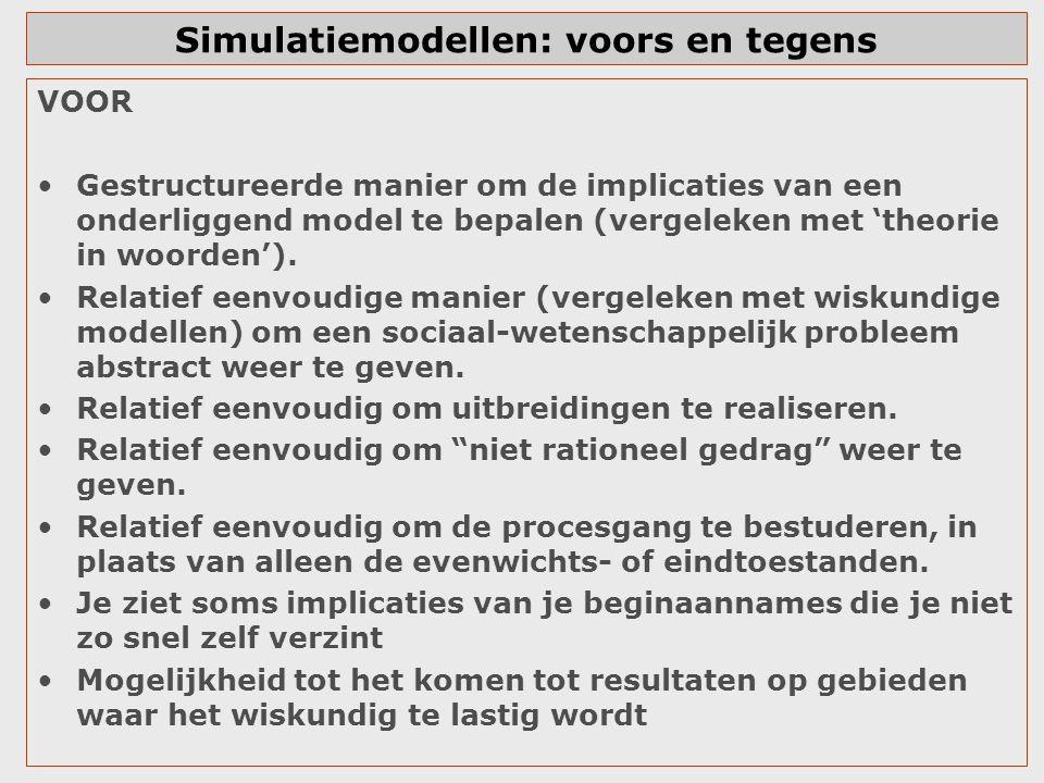 Simulatiemodellen: voors en tegens VOOR Gestructureerde manier om de implicaties van een onderliggend model te bepalen (vergeleken met 'theorie in woo