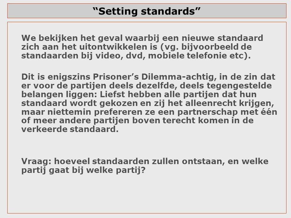 """""""Setting standards"""" We bekijken het geval waarbij een nieuwe standaard zich aan het uitontwikkelen is (vg. bijvoorbeeld de standaarden bij video, dvd,"""