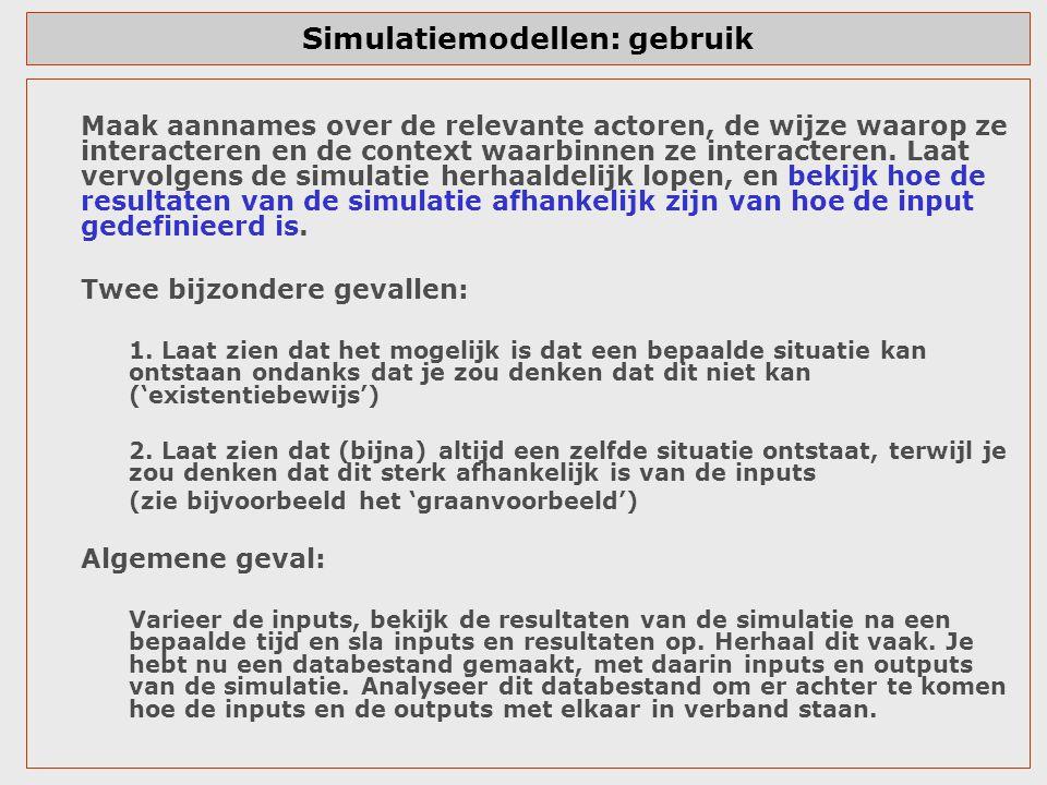 Simulatiemodellen: gebruik Maak aannames over de relevante actoren, de wijze waarop ze interacteren en de context waarbinnen ze interacteren. Laat ver