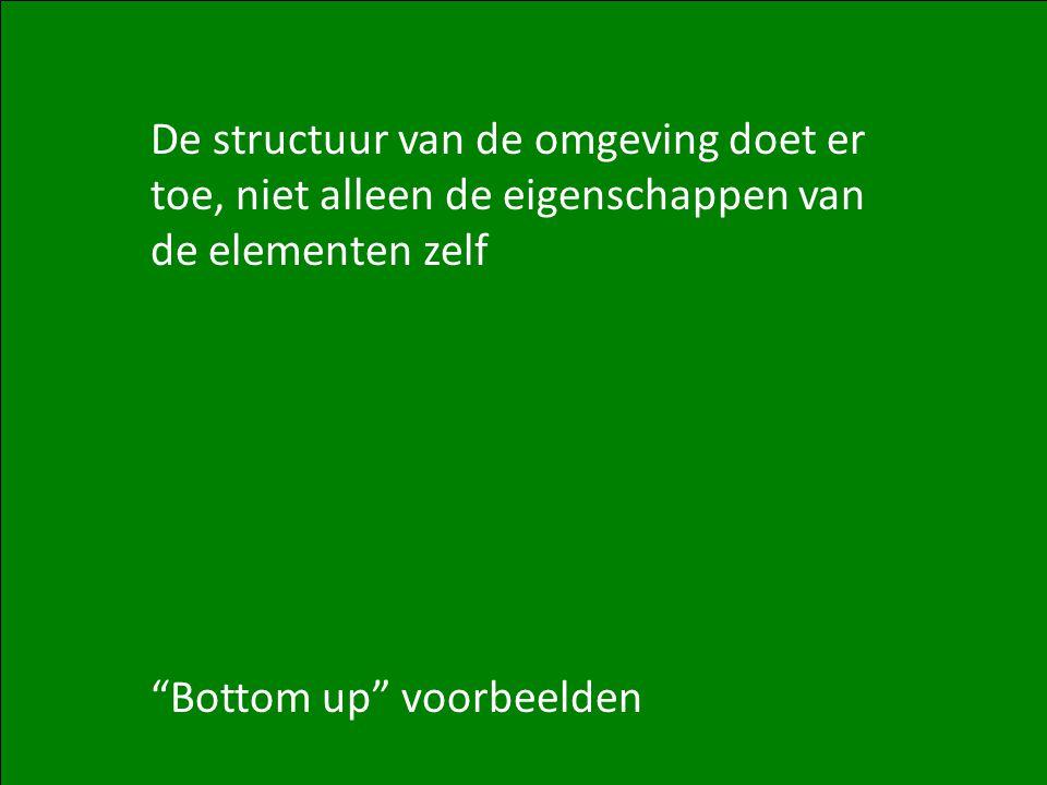 U Matzat – Complexiteit: Netwerken (1) 11 De structuur van de omgeving doet er toe, niet alleen de eigenschappen van de elementen zelf Bottom up voorbeelden