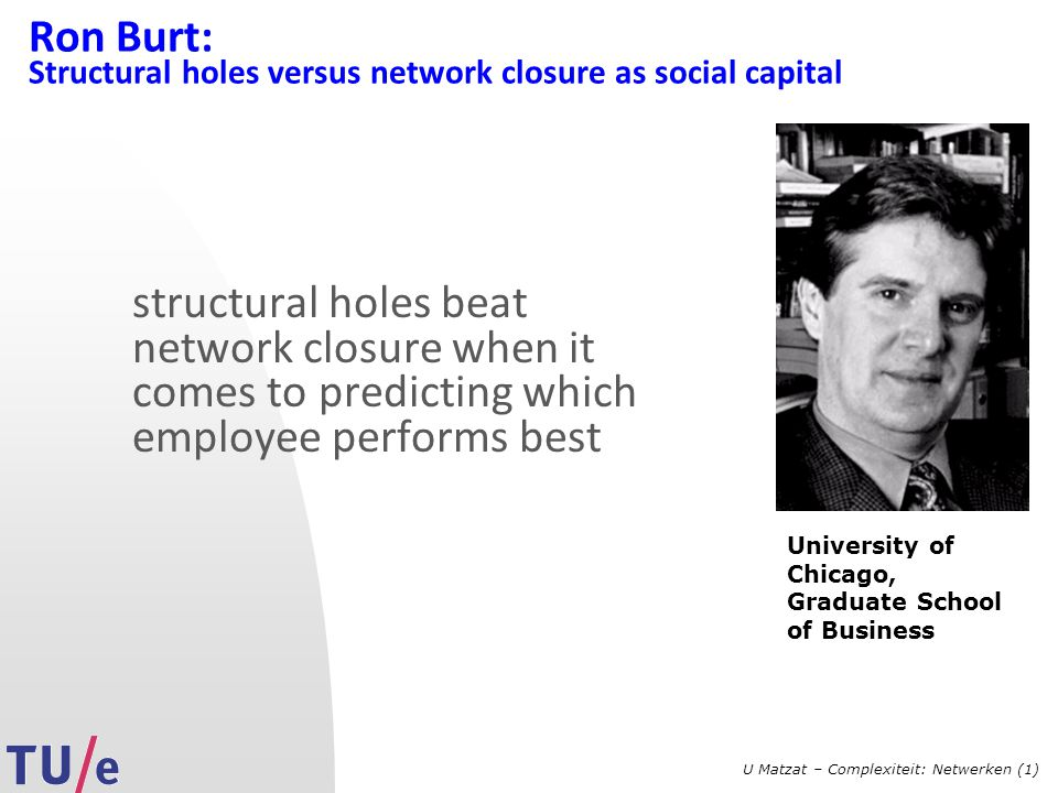 U Matzat – Complexiteit: Netwerken (1) Ron Burt: Structural holes versus network closure as social capital structural holes beat network closure when