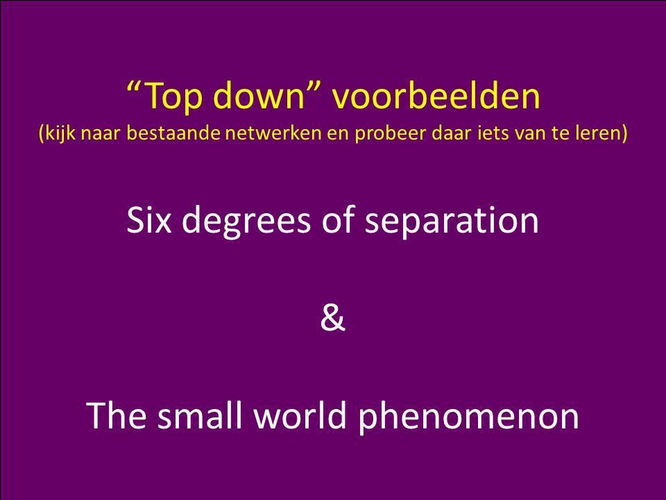 U Matzat – Complexiteit: Netwerken (1) 25 Top down voorbeelden (kijk naar bestaande netwerken en probeer daar iets van te leren) Six degrees of separation & The small world phenomenon