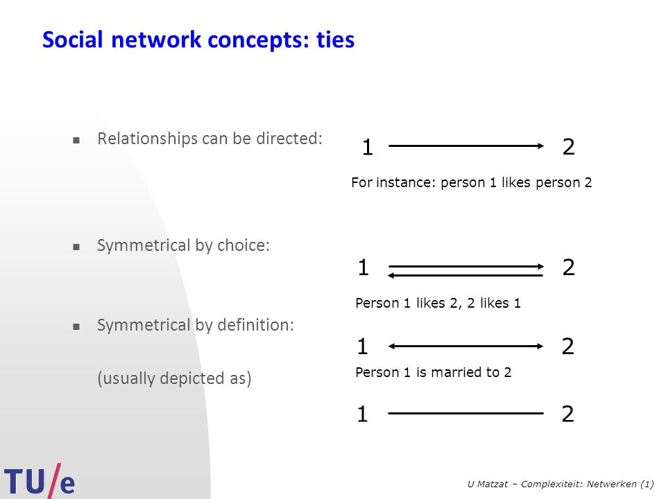U Matzat – Complexiteit: Netwerken (1) Social network concepts: ties Relationships can be directed: Symmetrical by choice: Symmetrical by definition: