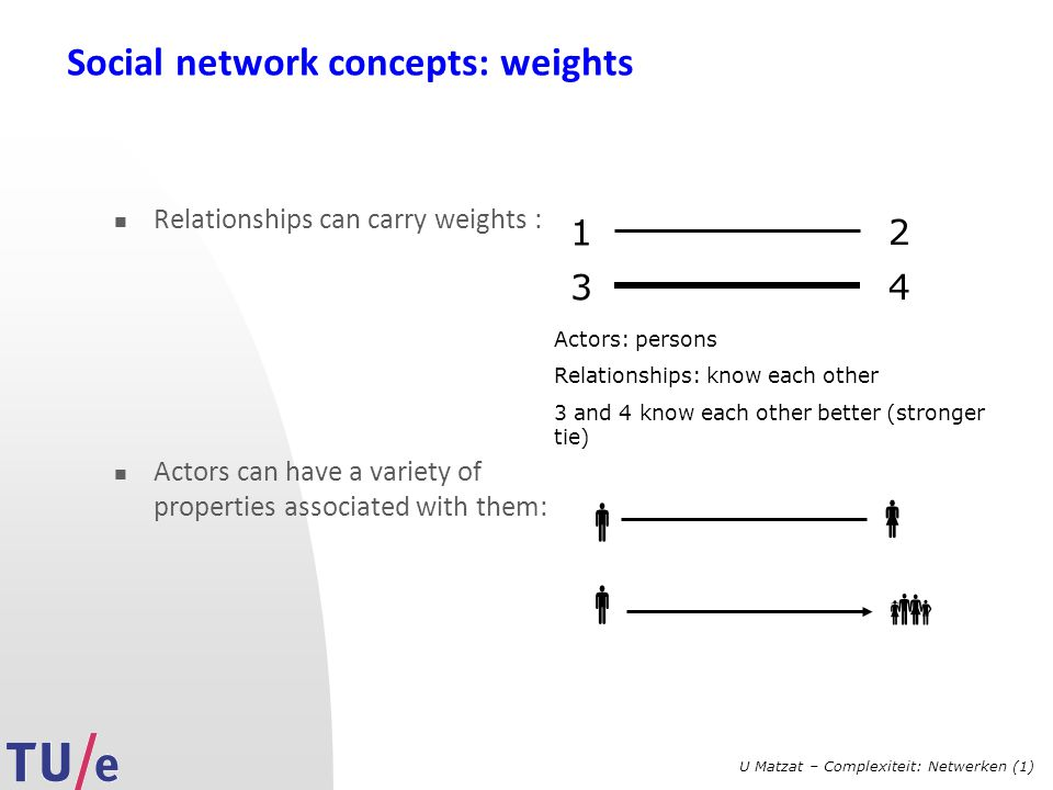 U Matzat – Complexiteit: Netwerken (1) Social network concepts: weights Relationships can carry weights : Actors can have a variety of properties asso