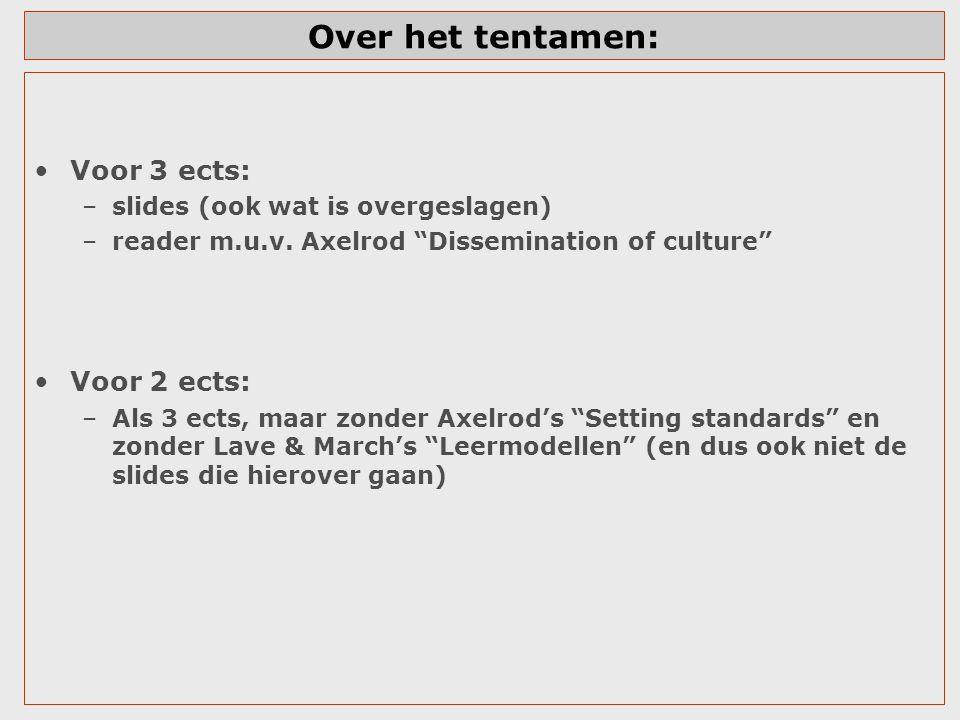 """Over het tentamen: Voor 3 ects: –slides (ook wat is overgeslagen) –reader m.u.v. Axelrod """"Dissemination of culture"""" Voor 2 ects: –Als 3 ects, maar zon"""