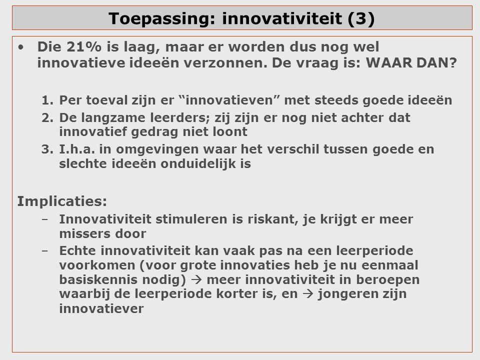 """Toepassing: innovativiteit (3) Die 21% is laag, maar er worden dus nog wel innovatieve ideeën verzonnen. De vraag is: WAAR DAN? 1.Per toeval zijn er """""""