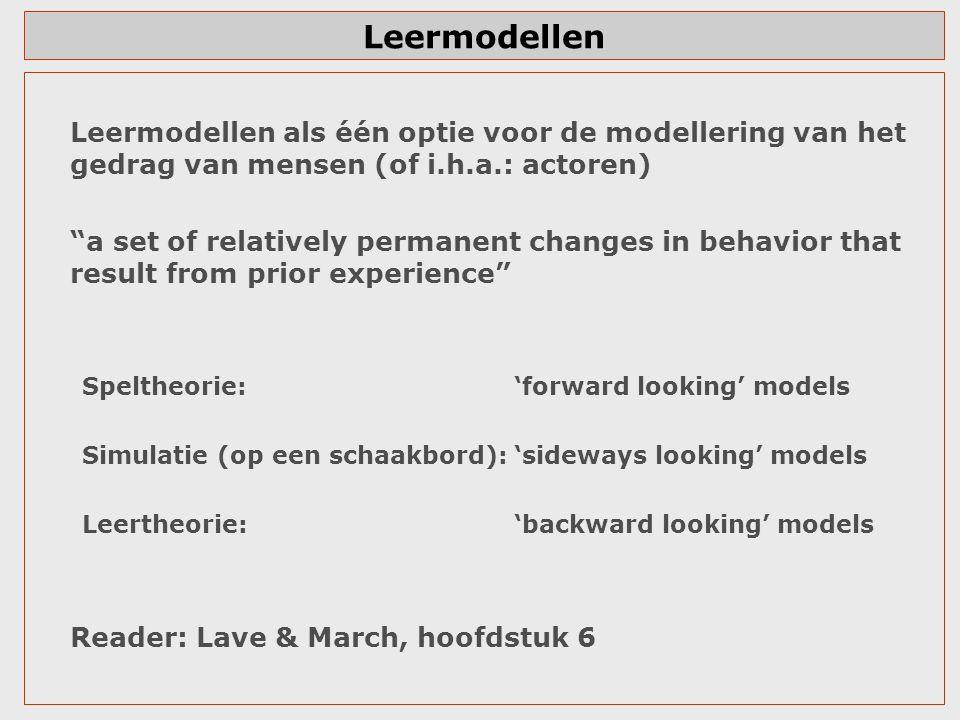 """Leermodellen Leermodellen als één optie voor de modellering van het gedrag van mensen (of i.h.a.: actoren) """"a set of relatively permanent changes in b"""