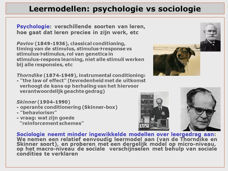 Leermodellen: psychologie vs sociologie Psychologie: verschillende soorten van leren, hoe gaat dat leren precies in zijn werk, etc Pavlov (1849-1936),