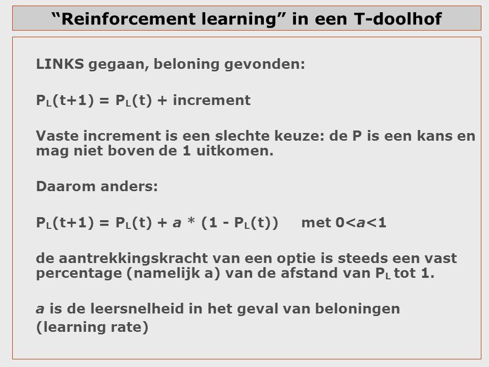 Reinforcement learning in een T-doolhof LINKS gegaan, geen beloning gevonden (=mislukking): P L (t+1) = P L (t) – b P L (t) met 0<b<1 de extra aantrekkingskracht van een optie is steeds een vast percentage (namelijk b) van de afstand tot 0.