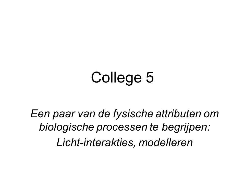 College 5 Een paar van de fysische attributen om biologische processen te begrijpen: Licht-interakties, modelleren