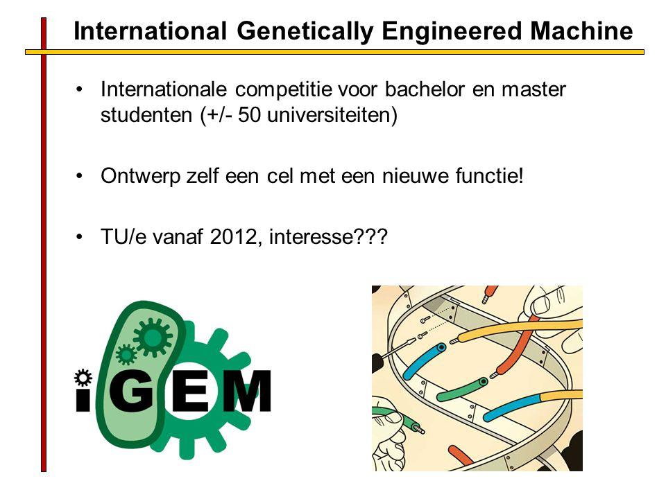 International Genetically Engineered Machine Internationale competitie voor bachelor en master studenten (+/- 50 universiteiten) Ontwerp zelf een cel met een nieuwe functie.