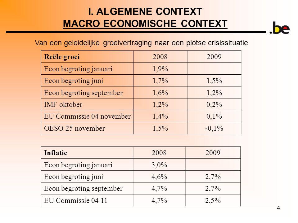 4 I. ALGEMENE CONTEXT MACRO ECONOMISCHE CONTEXT Van een geleidelijke groeivertraging naar een plotse crisissituatie Reële groei20082009 Econ begroting