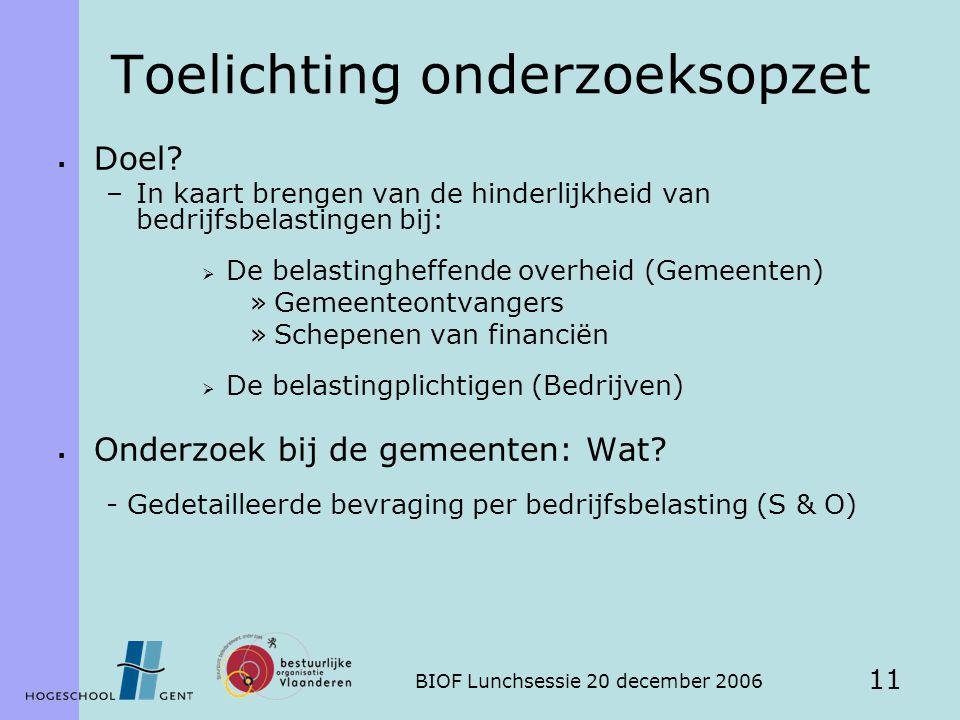 BIOF Lunchsessie 20 december 2006 11 Toelichting onderzoeksopzet  Doel.