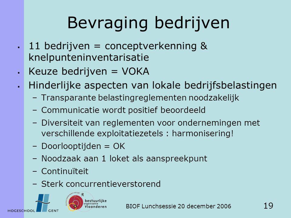 BIOF Lunchsessie 20 december 2006 19 Bevraging bedrijven  11 bedrijven = conceptverkenning & knelpunteninventarisatie  Keuze bedrijven = VOKA  Hind