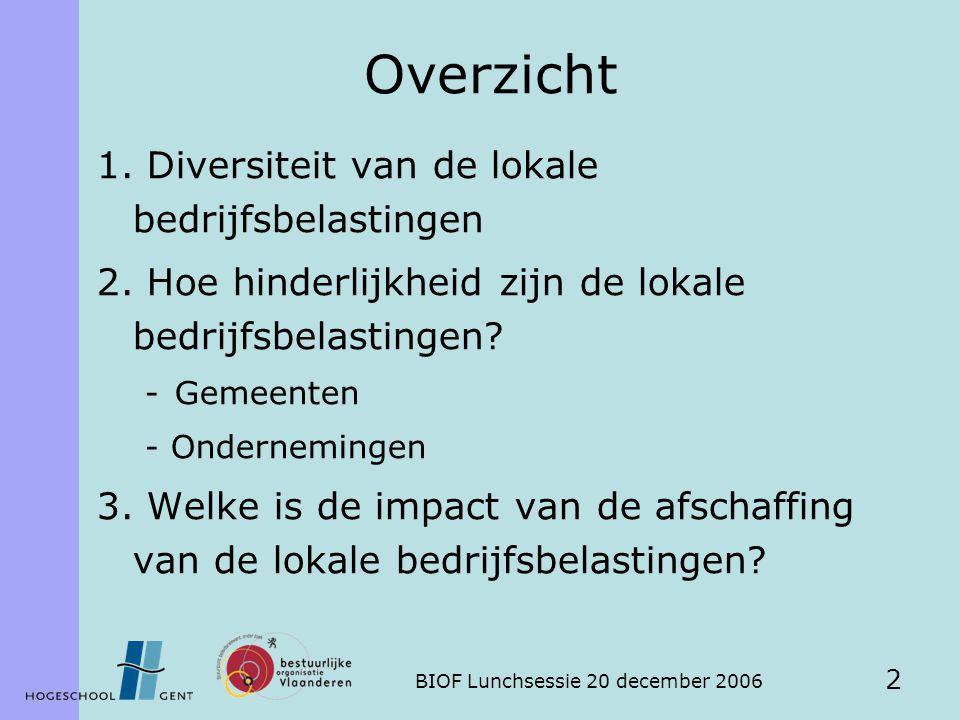 BIOF Lunchsessie 20 december 2006 2 Overzicht 1. Diversiteit van de lokale bedrijfsbelastingen 2. Hoe hinderlijkheid zijn de lokale bedrijfsbelastinge