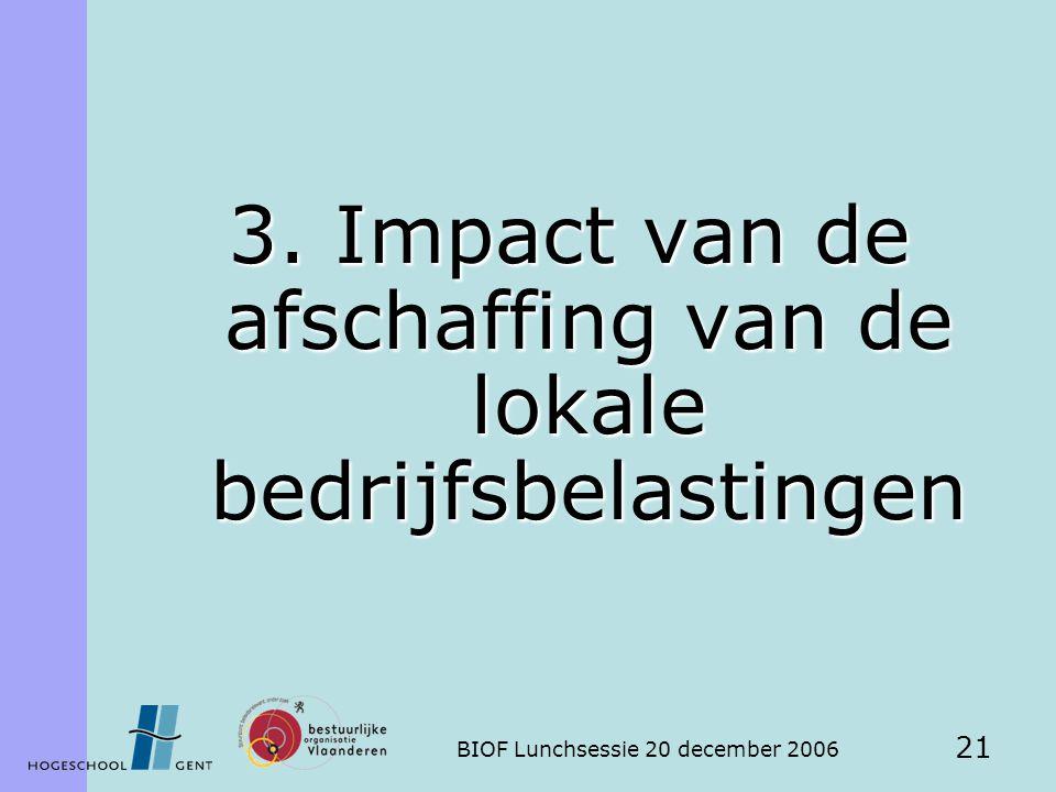 BIOF Lunchsessie 20 december 2006 21 3. Impact van de afschaffing van de lokale bedrijfsbelastingen