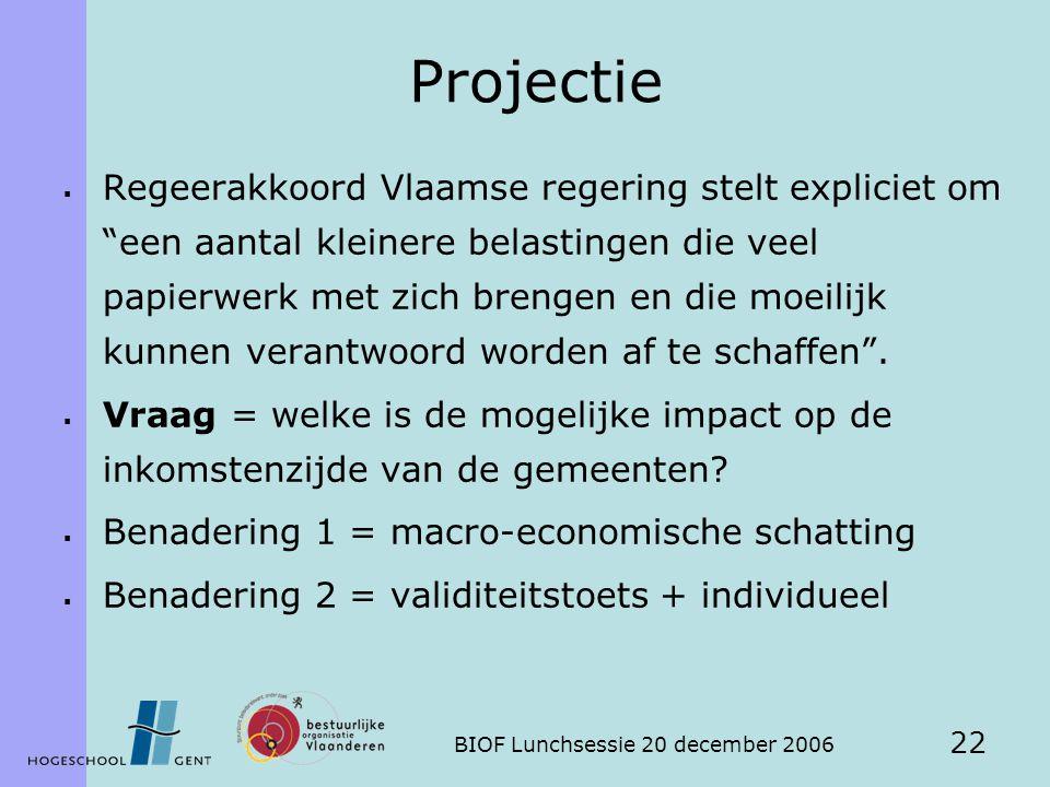 BIOF Lunchsessie 20 december 2006 22 Projectie  Regeerakkoord Vlaamse regering stelt expliciet om een aantal kleinere belastingen die veel papierwerk met zich brengen en die moeilijk kunnen verantwoord worden af te schaffen .