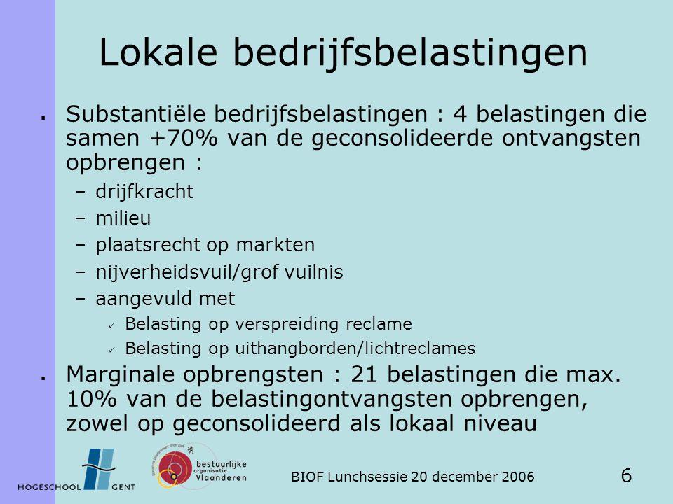 BIOF Lunchsessie 20 december 2006 6 Lokale bedrijfsbelastingen  Substantiële bedrijfsbelastingen : 4 belastingen die samen +70% van de geconsolideerde ontvangsten opbrengen : –drijfkracht –milieu –plaatsrecht op markten –nijverheidsvuil/grof vuilnis –aangevuld met Belasting op verspreiding reclame Belasting op uithangborden/lichtreclames  Marginale opbrengsten : 21 belastingen die max.