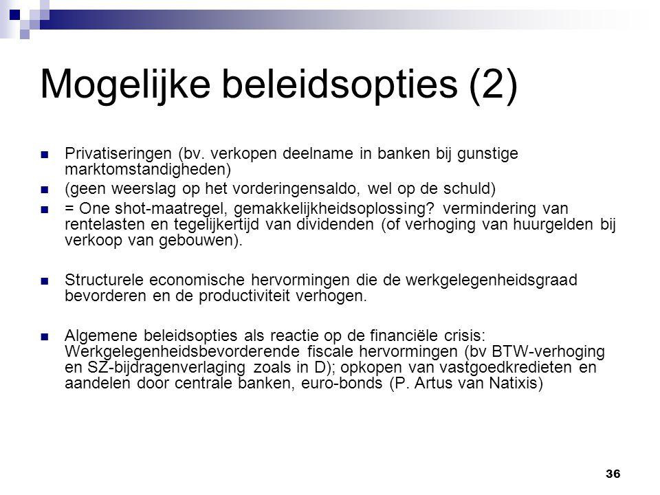 36 Mogelijke beleidsopties (2) Privatiseringen (bv.